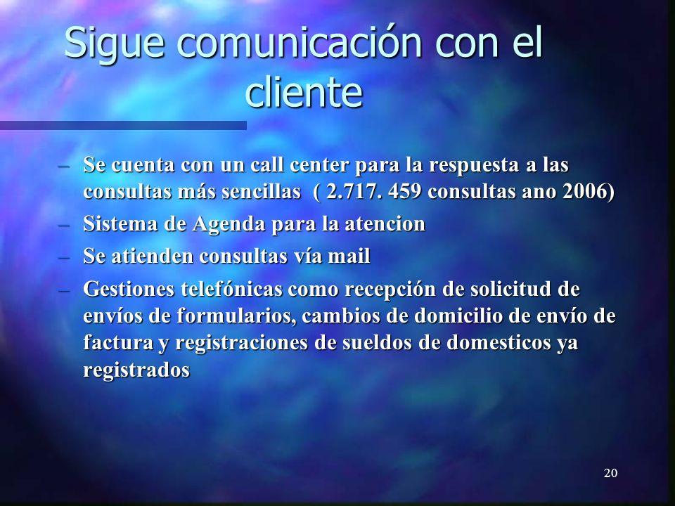 20 Sigue comunicación con el cliente –Se cuenta con un call center para la respuesta a las consultas más sencillas ( 2.717.