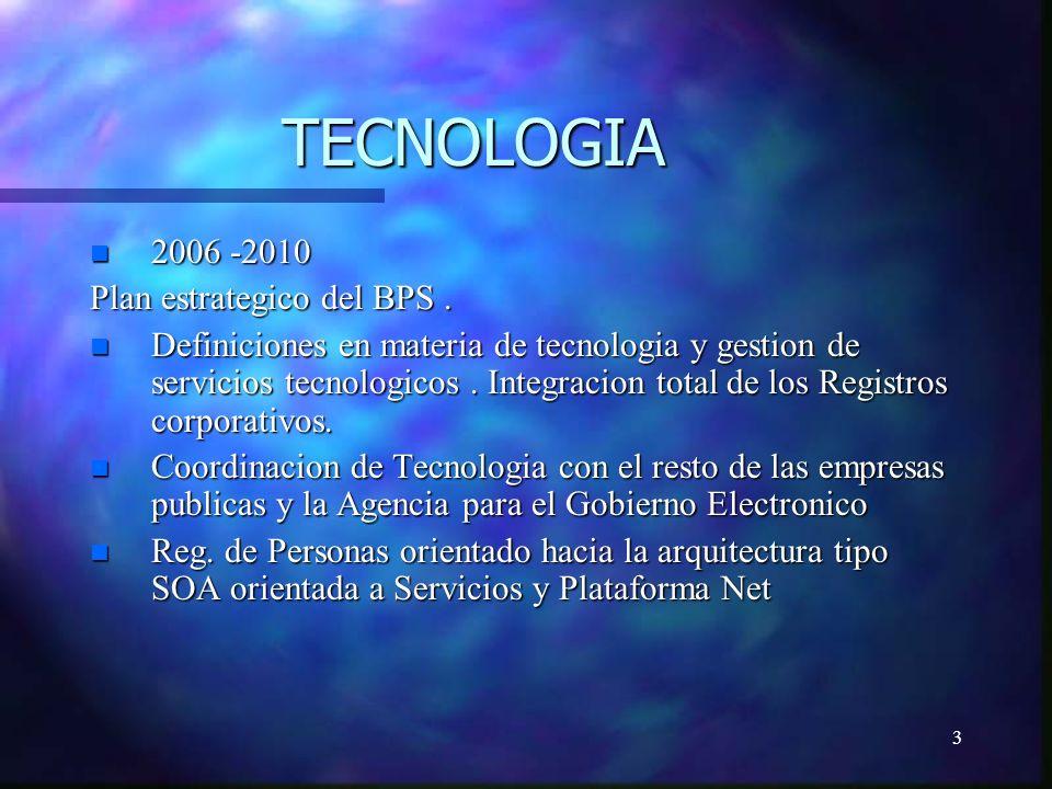 3 TECNOLOGIA n 2006 -2010 Plan estrategico del BPS.