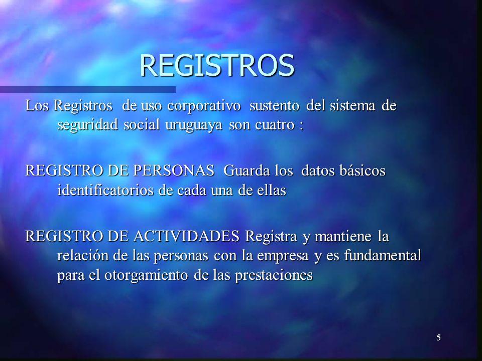 5 REGISTROS Los Registros de uso corporativo sustento del sistema de seguridad social uruguaya son cuatro : REGISTRO DE PERSONAS Guarda los datos básicos identificatorios de cada una de ellas REGISTRO DE ACTIVIDADES Registra y mantiene la relación de las personas con la empresa y es fundamental para el otorgamiento de las prestaciones