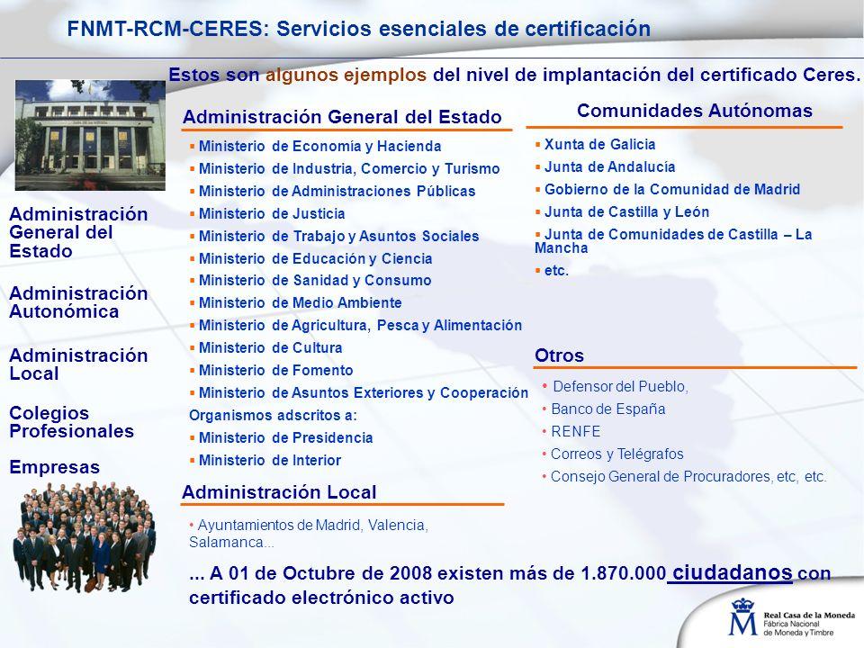 Administración Autonómica Xunta de Galicia Junta de Andalucía Gobierno de la Comunidad de Madrid Junta de Castilla y León Junta de Comunidades de Castilla – La Mancha etc.
