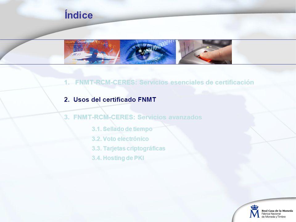 Índice 1. FNMT-RCM-CERES: Servicios esenciales de certificación 2. Usos del certificado FNMT 3. FNMT-RCM-CERES: Servicios avanzados 3.1. Sellado de ti