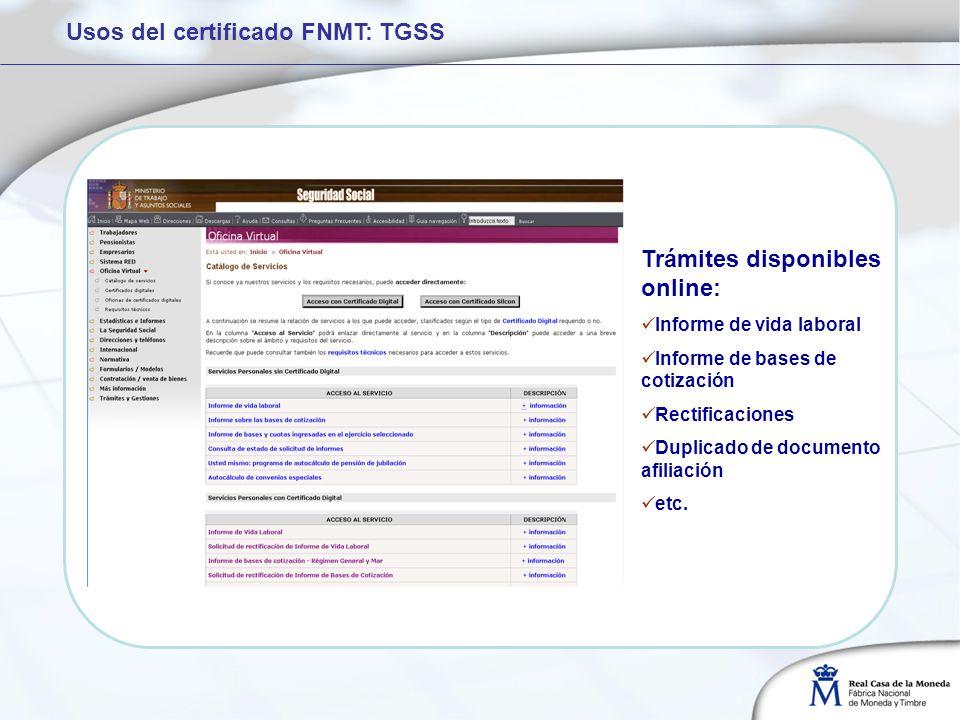 Trámites disponibles online: Informe de vida laboral Informe de bases de cotización Rectificaciones Duplicado de documento afiliación etc. Usos del ce