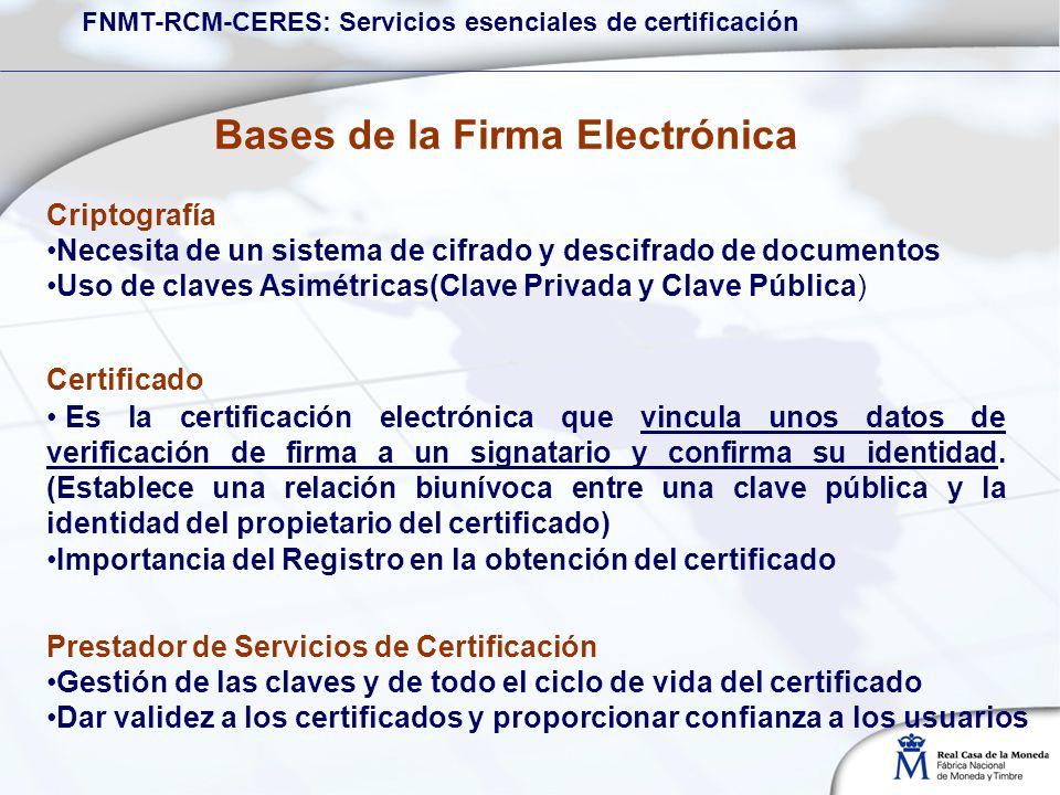 Criptografía Necesita de un sistema de cifrado y descifrado de documentos Uso de claves Asimétricas(Clave Privada y Clave Pública) Prestador de Servicios de Certificación Gestión de las claves y de todo el ciclo de vida del certificado Dar validez a los certificados y proporcionar confianza a los usuarios Certificado Es la certificación electrónica que vincula unos datos de verificación de firma a un signatario y confirma su identidad.