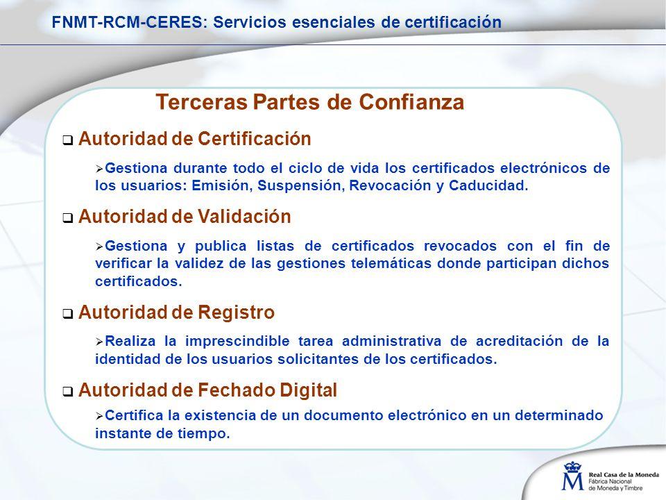 Terceras Partes de Confianza Autoridad de Certificación Gestiona durante todo el ciclo de vida los certificados electrónicos de los usuarios: Emisión, Suspensión, Revocación y Caducidad.