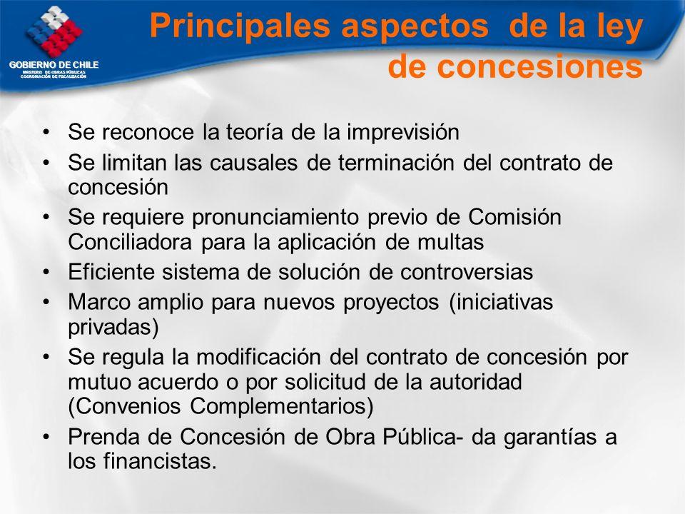 GOBIERNO DE CHILE MNISTERIO DE OBRAS PÚBLICAS COORDINACIÓN DE FISCALIZACIÓN Principales aspectos de la ley de concesiones Se reconoce la teoría de la