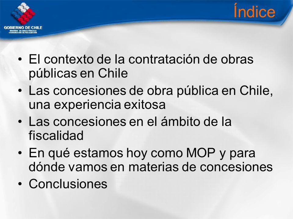 GOBIERNO DE CHILE MNISTERIO DE OBRAS PÚBLICAS COORDINACIÓN DE FISCALIZACIÓN Índice El contexto de la contratación de obras públicas en Chile Las conce