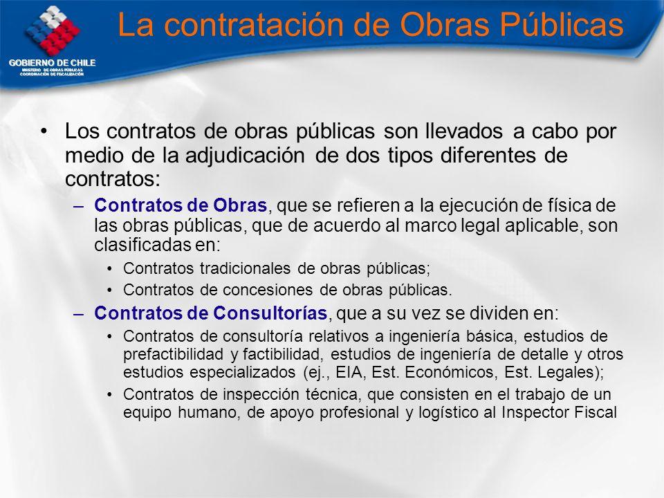 GOBIERNO DE CHILE MNISTERIO DE OBRAS PÚBLICAS COORDINACIÓN DE FISCALIZACIÓN La contratación de Obras Públicas Los contratos de obras públicas son llev