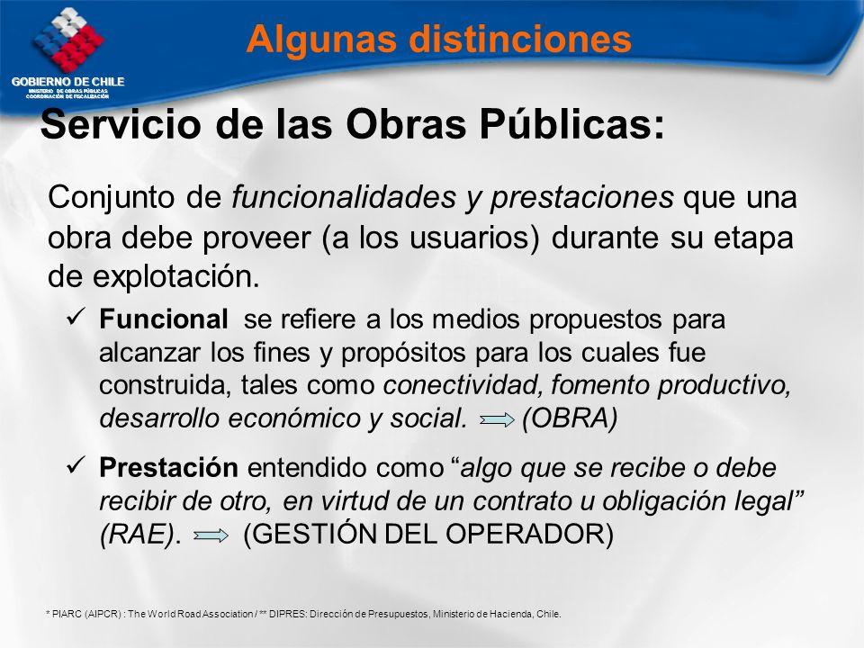 GOBIERNO DE CHILE MNISTERIO DE OBRAS PÚBLICAS COORDINACIÓN DE FISCALIZACIÓN Servicio de las Obras Públicas: Conjunto de funcionalidades y prestaciones