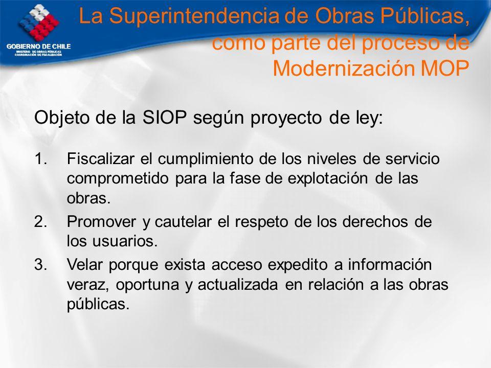 GOBIERNO DE CHILE MNISTERIO DE OBRAS PÚBLICAS COORDINACIÓN DE FISCALIZACIÓN La Superintendencia de Obras Públicas, como parte del proceso de Moderniza