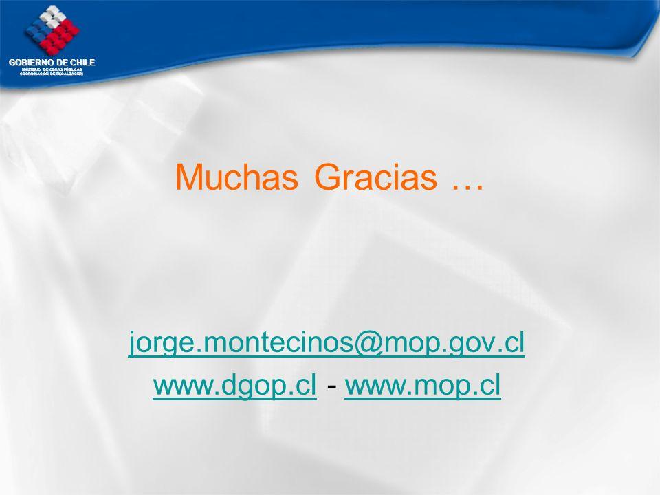 GOBIERNO DE CHILE MNISTERIO DE OBRAS PÚBLICAS COORDINACIÓN DE FISCALIZACIÓN Muchas Gracias … jorge.montecinos@mop.gov.cl www.dgop.clwww.dgop.cl - www.