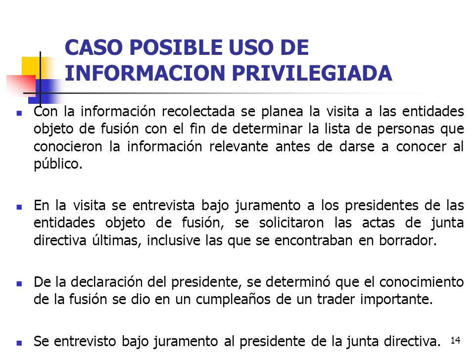 14 CASO POSIBLE USO DE INFORMACION PRIVILEGIADA Con la información recolectada se planea la visita a las entidades objeto de fusión con el fin de dete