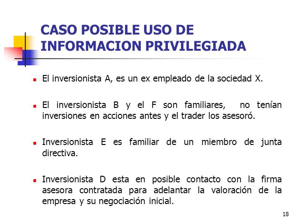 18 CASO POSIBLE USO DE INFORMACION PRIVILEGIADA El inversionista A, es un ex empleado de la sociedad X. El inversionista B y el F son familiares, no t