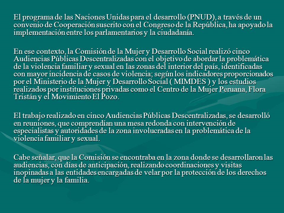El programa de las Naciones Unidas para el desarrollo (PNUD), a través de un convenio de Cooperación suscrito con el Congreso de la República, ha apoyado la implementación entre los parlamentarios y la ciudadanía.