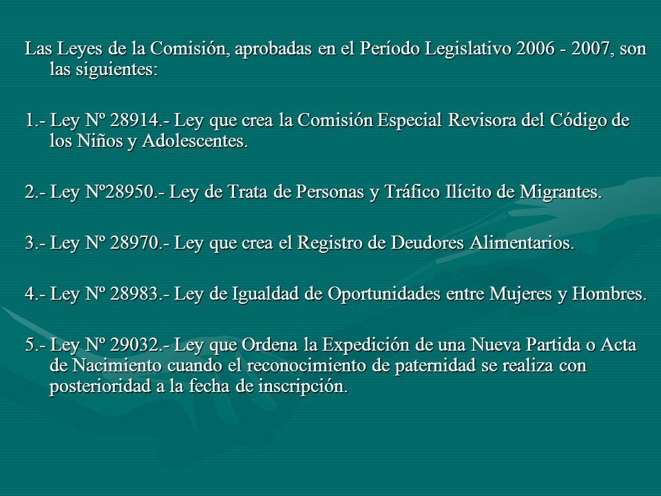 Las Leyes de la Comisión, aprobadas en el Período Legislativo 2006 - 2007, son las siguientes: 1.- Ley Nº 28914.- Ley que crea la Comisión Especial Revisora del Código de los Niños y Adolescentes.