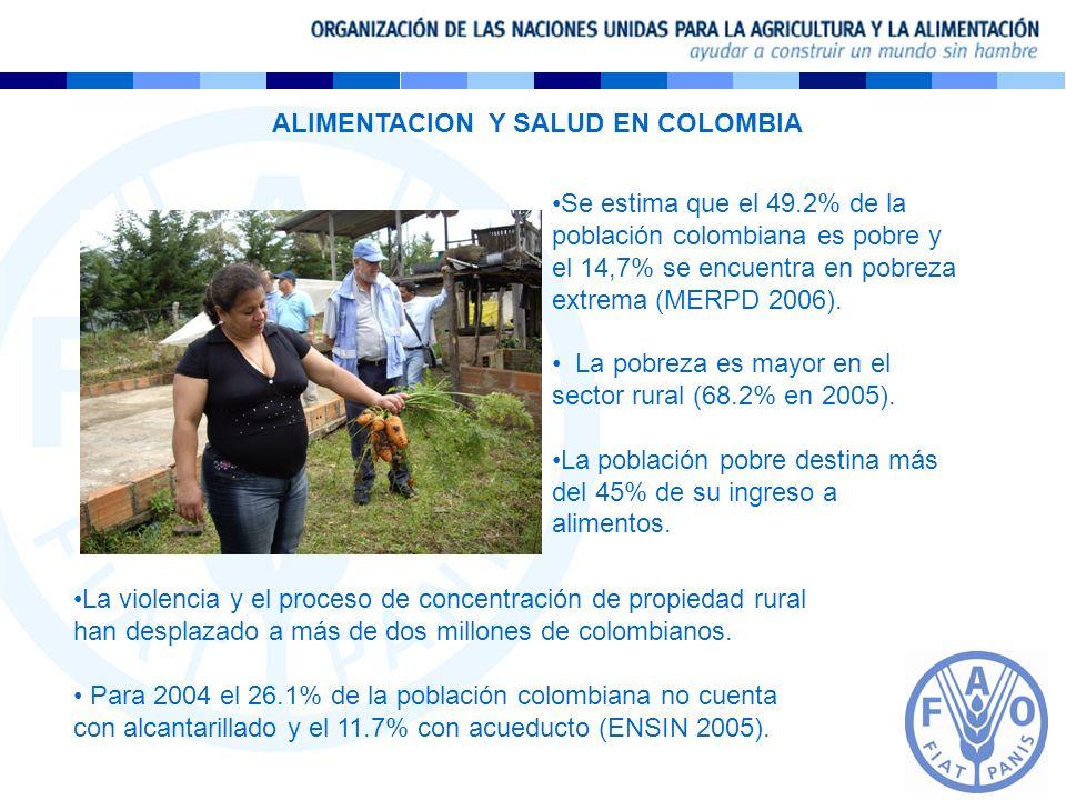 Se estima que el 49.2% de la población colombiana es pobre y el 14,7% se encuentra en pobreza extrema (MERPD 2006). La pobreza es mayor en el sector r
