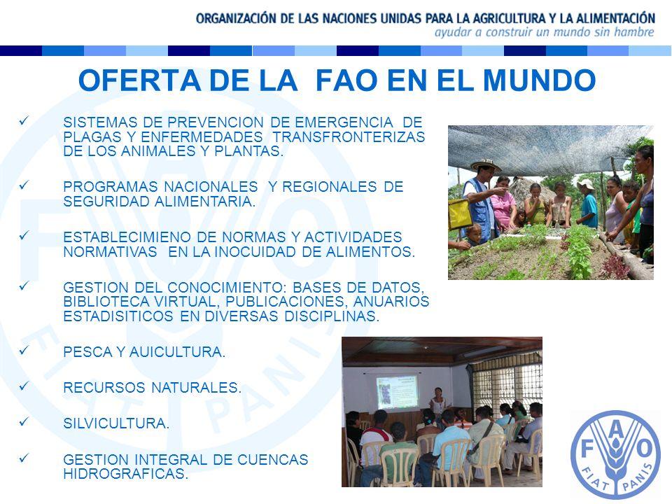 OFERTA DE LA FAO EN EL MUNDO SISTEMAS DE PREVENCION DE EMERGENCIA DE PLAGAS Y ENFERMEDADES TRANSFRONTERIZAS DE LOS ANIMALES Y PLANTAS. PROGRAMAS NACIO