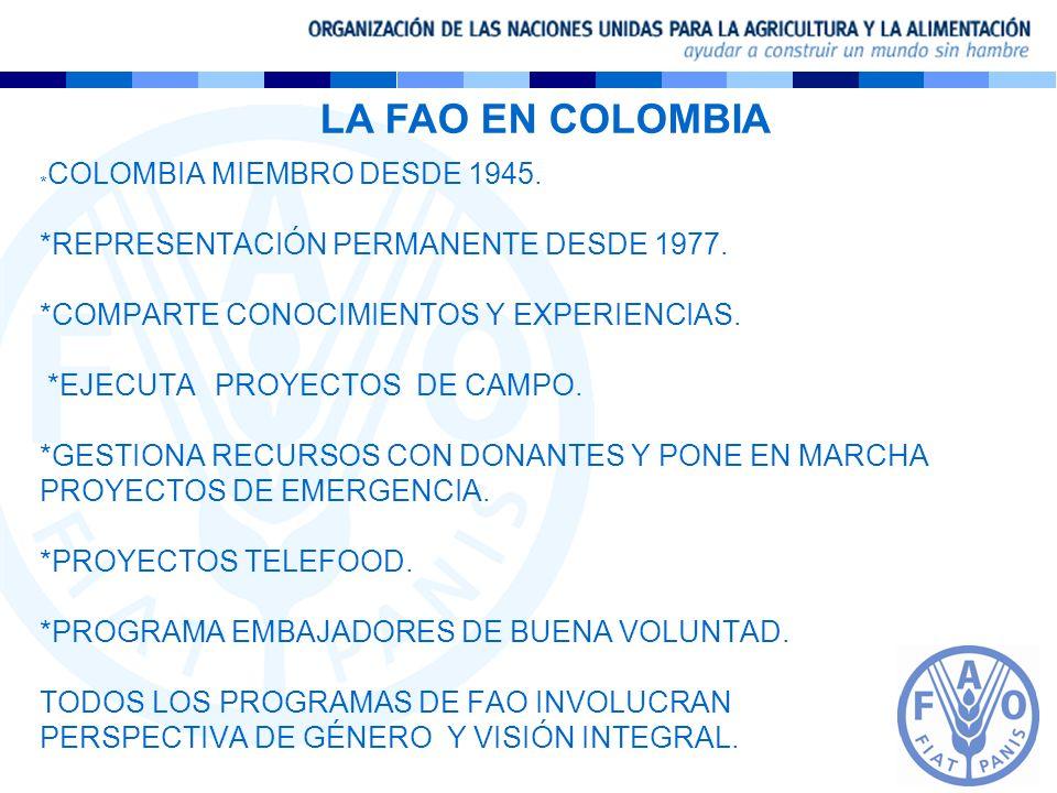 * COLOMBIA MIEMBRO DESDE 1945. *REPRESENTACIÓN PERMANENTE DESDE 1977. *COMPARTE CONOCIMIENTOS Y EXPERIENCIAS. *EJECUTA PROYECTOS DE CAMPO. *GESTIONA R