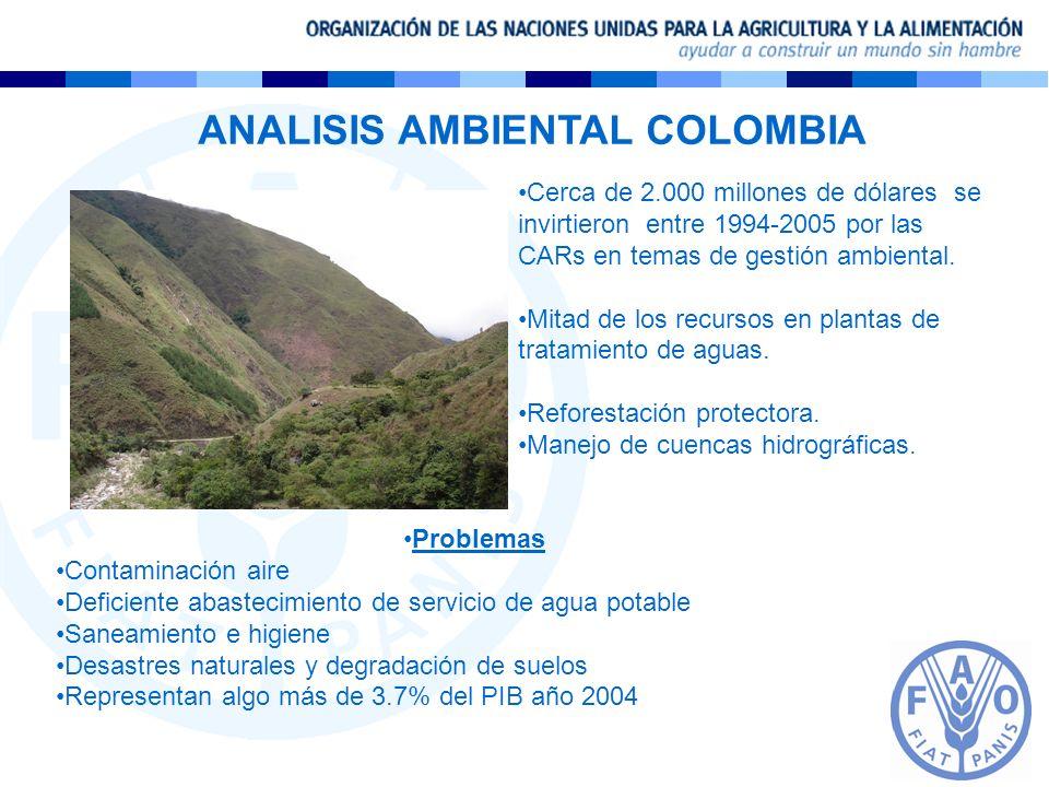 ANALISIS AMBIENTAL COLOMBIA Cerca de 2.000 millones de dólares se invirtieron entre 1994-2005 por las CARs en temas de gestión ambiental. Mitad de los