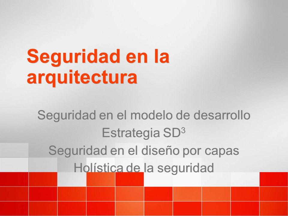 Seguridad en la arquitectura Seguridad en el modelo de desarrollo Estrategia SD 3 Seguridad en el diseño por capas Holística de la seguridad Seguridad