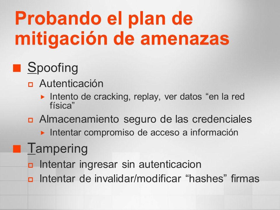 Probando el plan de mitigación de amenazas S poofing Autenticación Intento de cracking, replay, ver datos en la red física Almacenamiento seguro de la