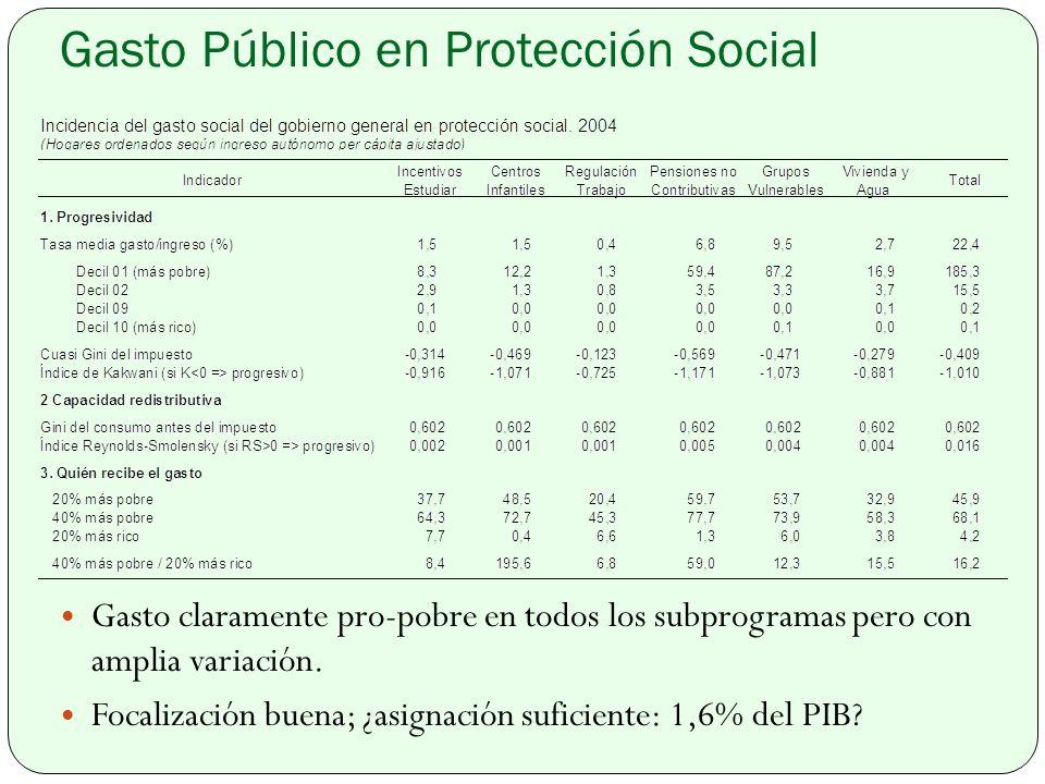 Gasto Público en Protección Social Gasto claramente pro-pobre en todos los subprogramas pero con amplia variación.