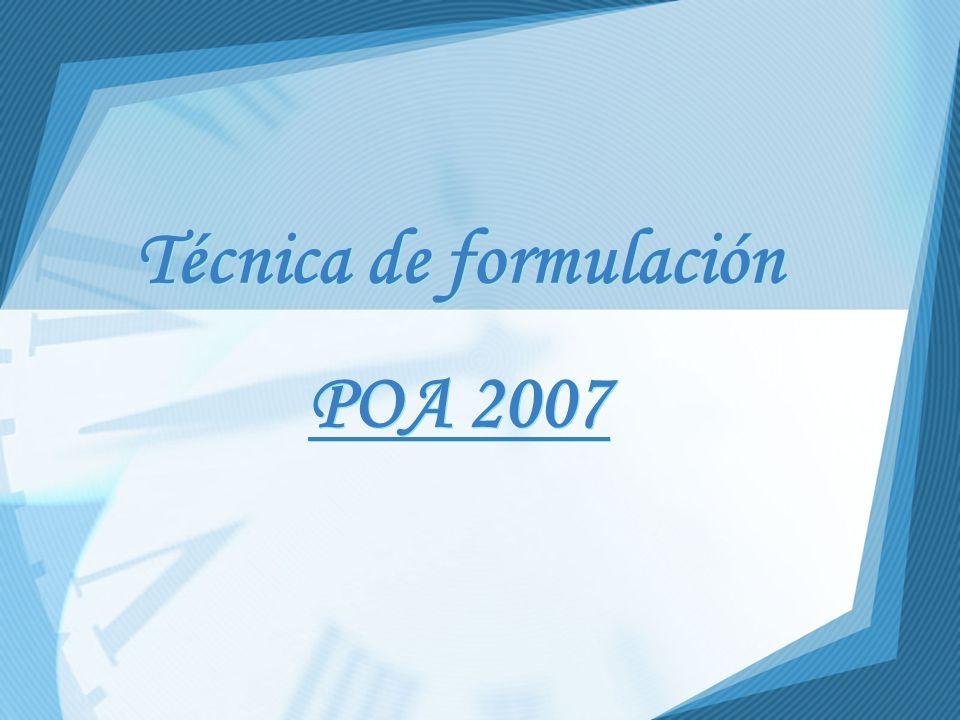 Técnica de formulación POA 2007 Técnica de formulación POA 2007