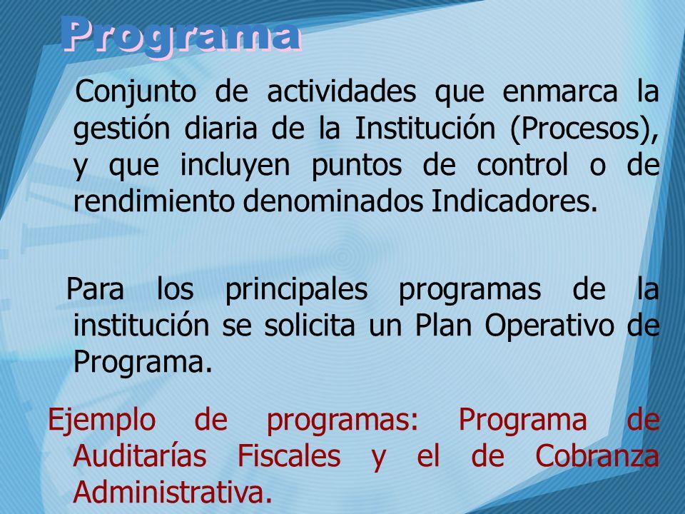 Conjunto de actividades que enmarca la gestión diaria de la Institución (Procesos), y que incluyen puntos de control o de rendimiento denominados Indi