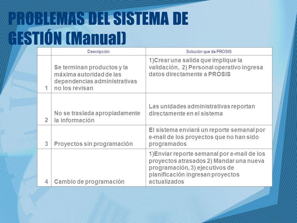 PROBLEMAS DEL SISTEMA DE GESTIÓN (Manual) DescripciónSolución que da PROSIS 1 Se terminan productos y la máxima autoridad de las dependencias administ