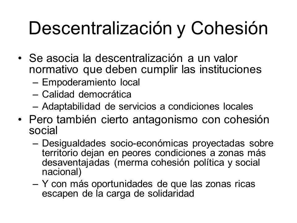 Descentralización y Cohesión Se asocia la descentralización a un valor normativo que deben cumplir las instituciones –Empoderamiento local –Calidad de
