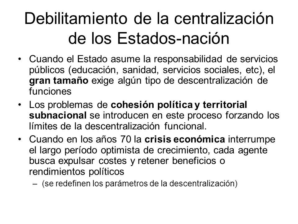 Debilitamiento de la centralización de los Estados-nación Cuando el Estado asume la responsabilidad de servicios públicos (educación, sanidad, servici