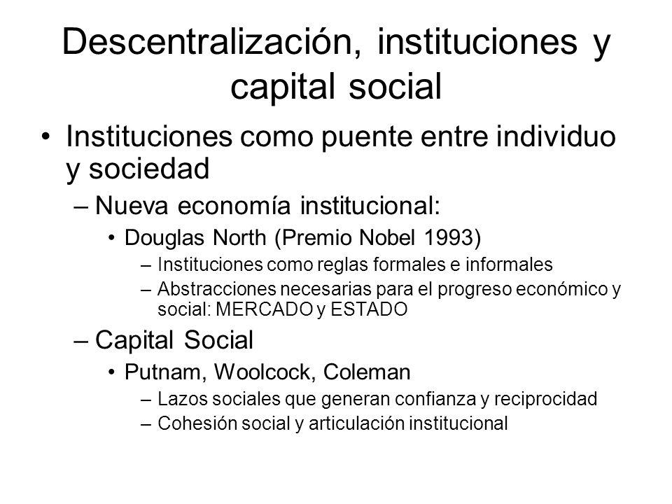 Descentralización, instituciones y capital social Instituciones como puente entre individuo y sociedad –Nueva economía institucional: Douglas North (P