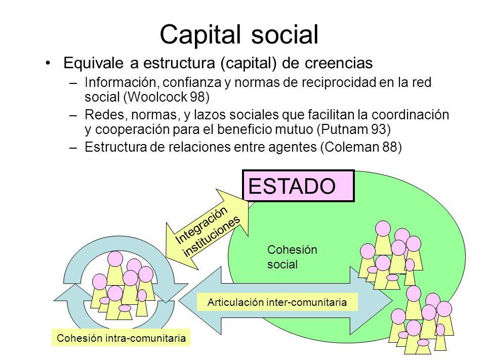 Cohesión social Capital social Equivale a estructura (capital) de creencias –Información, confianza y normas de reciprocidad en la red social (Woolcoc