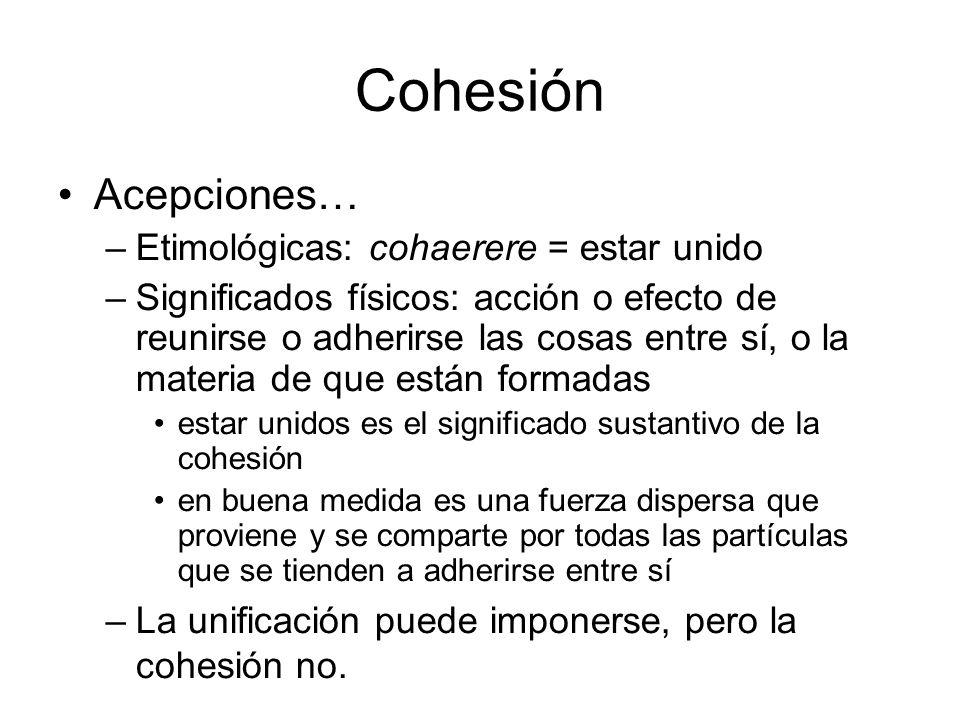 Cohesión Acepciones… –Etimológicas: cohaerere = estar unido –Significados físicos: acción o efecto de reunirse o adherirse las cosas entre sí, o la ma