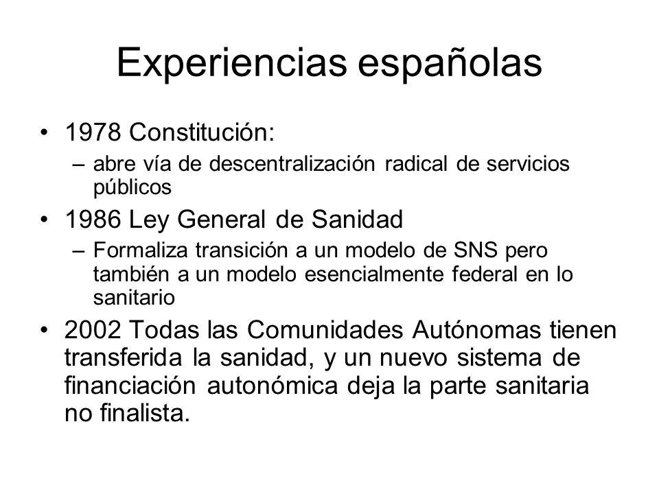 Experiencias españolas 1978 Constitución: –abre vía de descentralización radical de servicios públicos 1986 Ley General de Sanidad –Formaliza transici