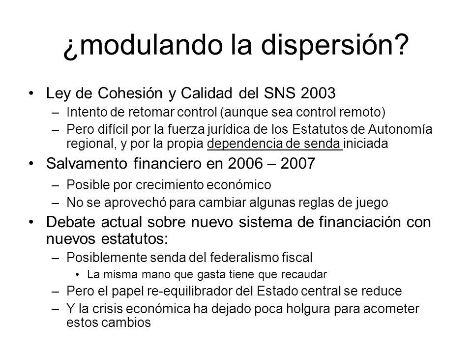 ¿modulando la dispersión? Ley de Cohesión y Calidad del SNS 2003 –Intento de retomar control (aunque sea control remoto) –Pero difícil por la fuerza j