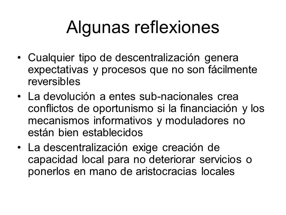 Algunas reflexiones Cualquier tipo de descentralización genera expectativas y procesos que no son fácilmente reversibles La devolución a entes sub-nac