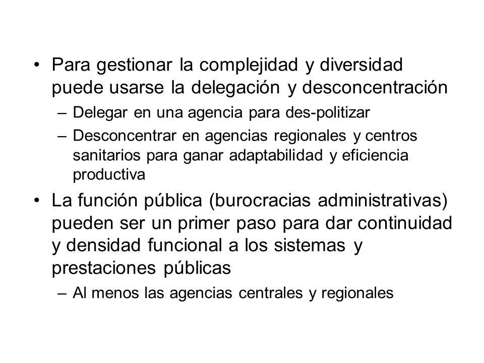 Para gestionar la complejidad y diversidad puede usarse la delegación y desconcentración –Delegar en una agencia para des-politizar –Desconcentrar en