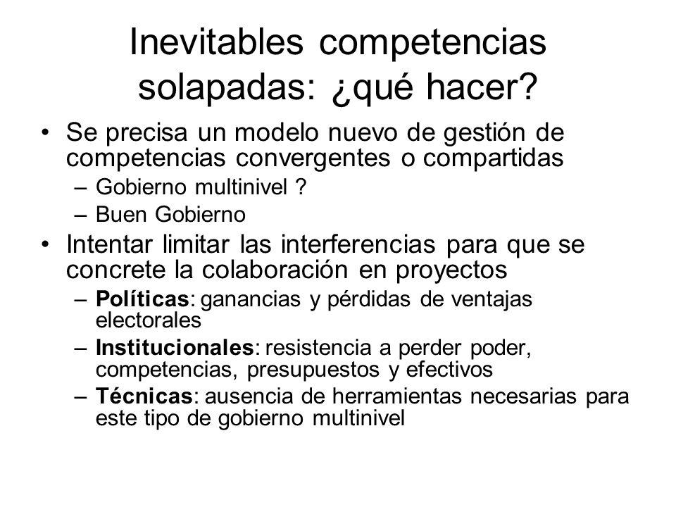 Inevitables competencias solapadas: ¿qué hacer? Se precisa un modelo nuevo de gestión de competencias convergentes o compartidas –Gobierno multinivel