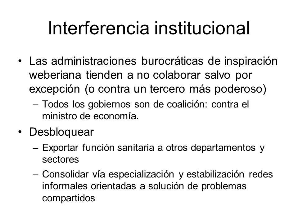 Interferencia institucional Las administraciones burocráticas de inspiración weberiana tienden a no colaborar salvo por excepción (o contra un tercero