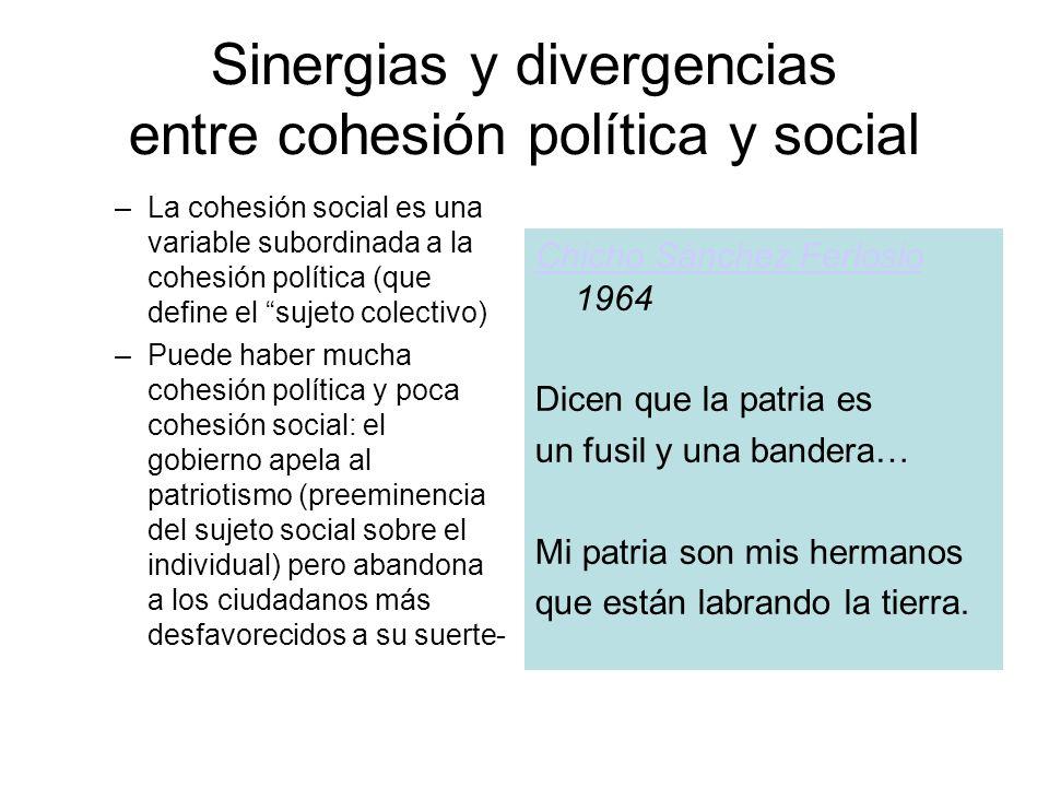 Sinergias y divergencias entre cohesión política y social –La cohesión social es una variable subordinada a la cohesión política (que define el sujeto