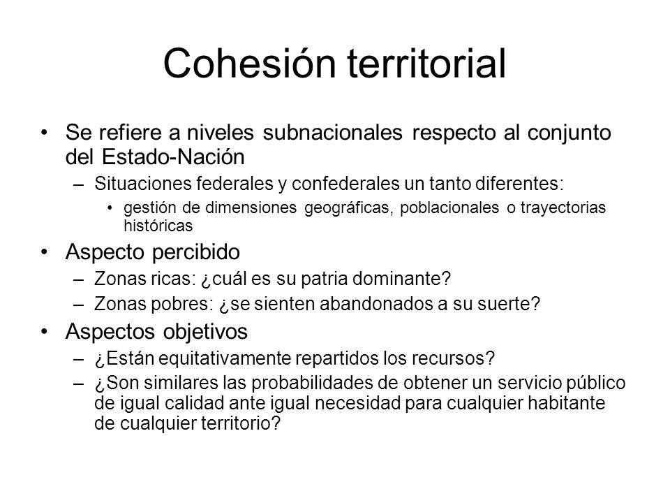 Cohesión territorial Se refiere a niveles subnacionales respecto al conjunto del Estado-Nación –Situaciones federales y confederales un tanto diferent