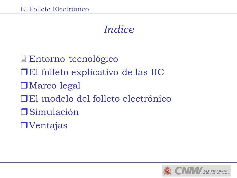 Indice 2Entorno tecnológico rEl folleto explicativo de las IIC rMarco legal rEl modelo del folleto electrónico rSimulación rVentajas El Folleto Electr