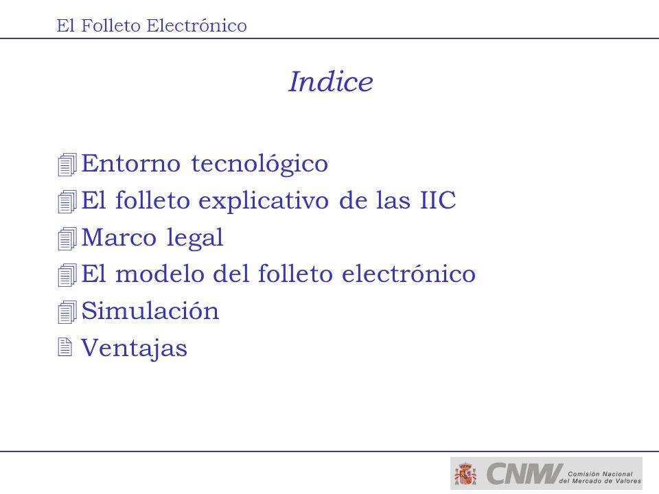 Indice 4Entorno tecnológico 4El folleto explicativo de las IIC 4Marco legal 4El modelo del folleto electrónico 4Simulación 2Ventajas El Folleto Electr