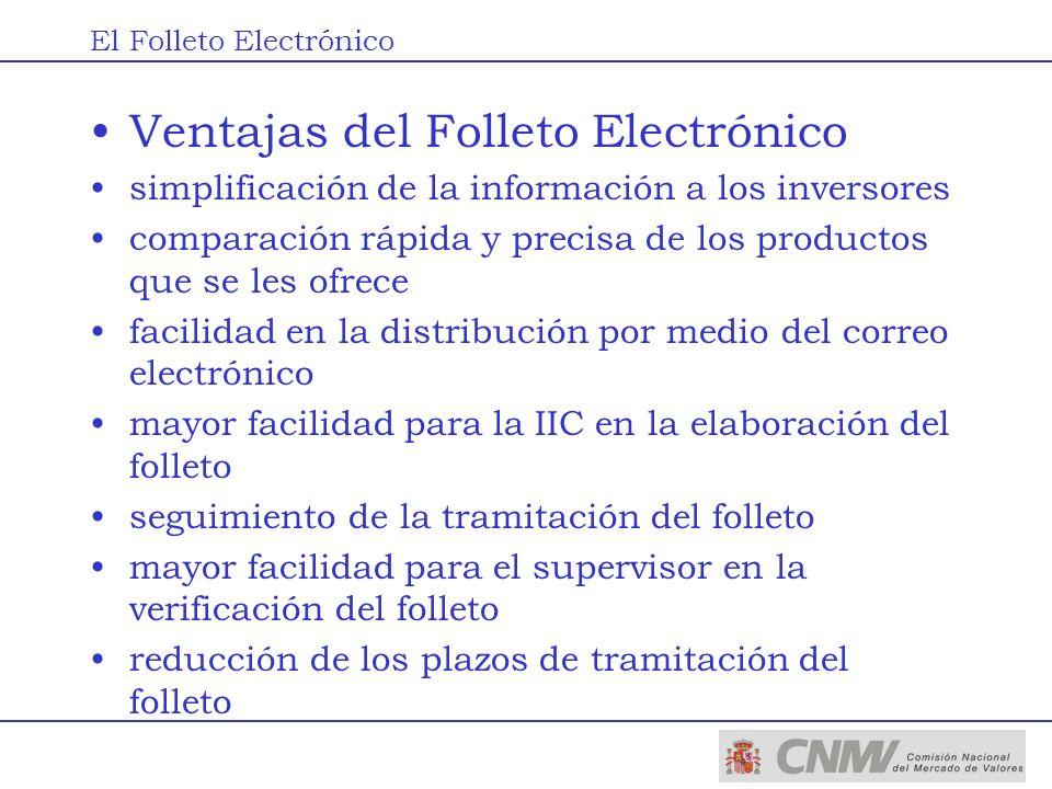 Ventajas del Folleto Electrónico simplificación de la información a los inversores comparación rápida y precisa de los productos que se les ofrece fac