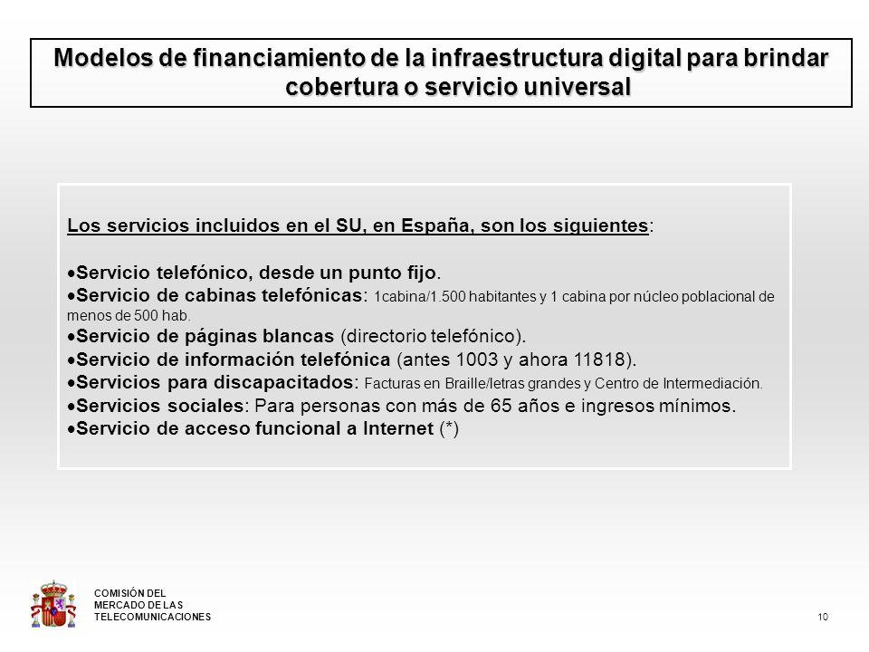 Modelos de financiamiento de la infraestructura digital para brindar cobertura o servicio universal Los servicios incluidos en el SU, en España, son los siguientes: Servicio telefónico, desde un punto fijo.