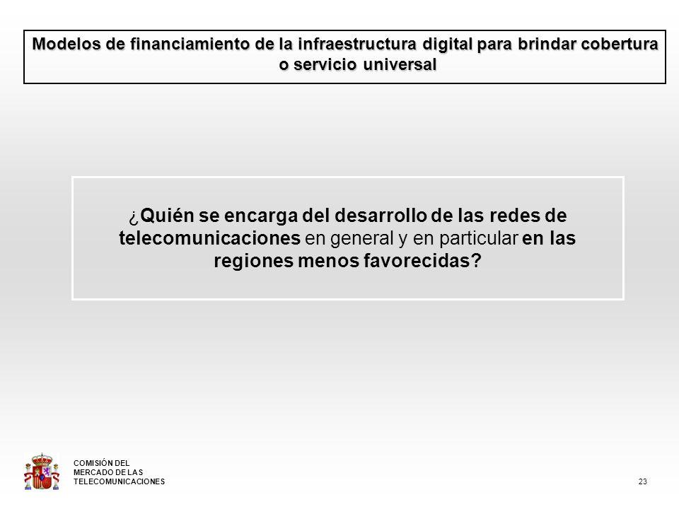 Modelos de financiamiento de la infraestructura digital para brindar cobertura o servicio universal ¿Quién se encarga del desarrollo de las redes de telecomunicaciones en general y en particular en las regiones menos favorecidas.