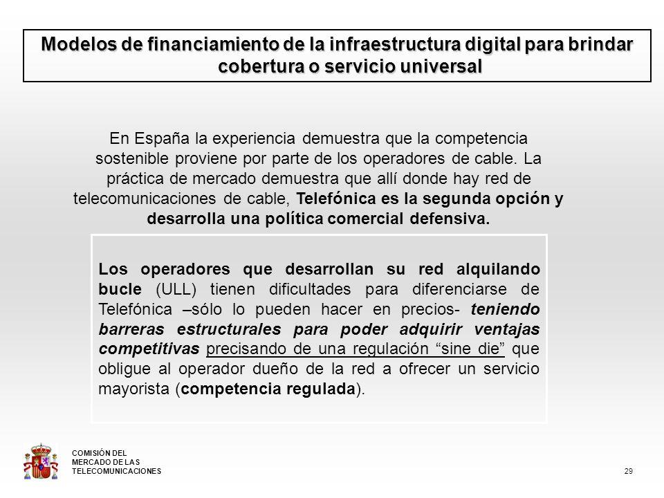 Modelos de financiamiento de la infraestructura digital para brindar cobertura o servicio universal En España la experiencia demuestra que la competencia sostenible proviene por parte de los operadores de cable.