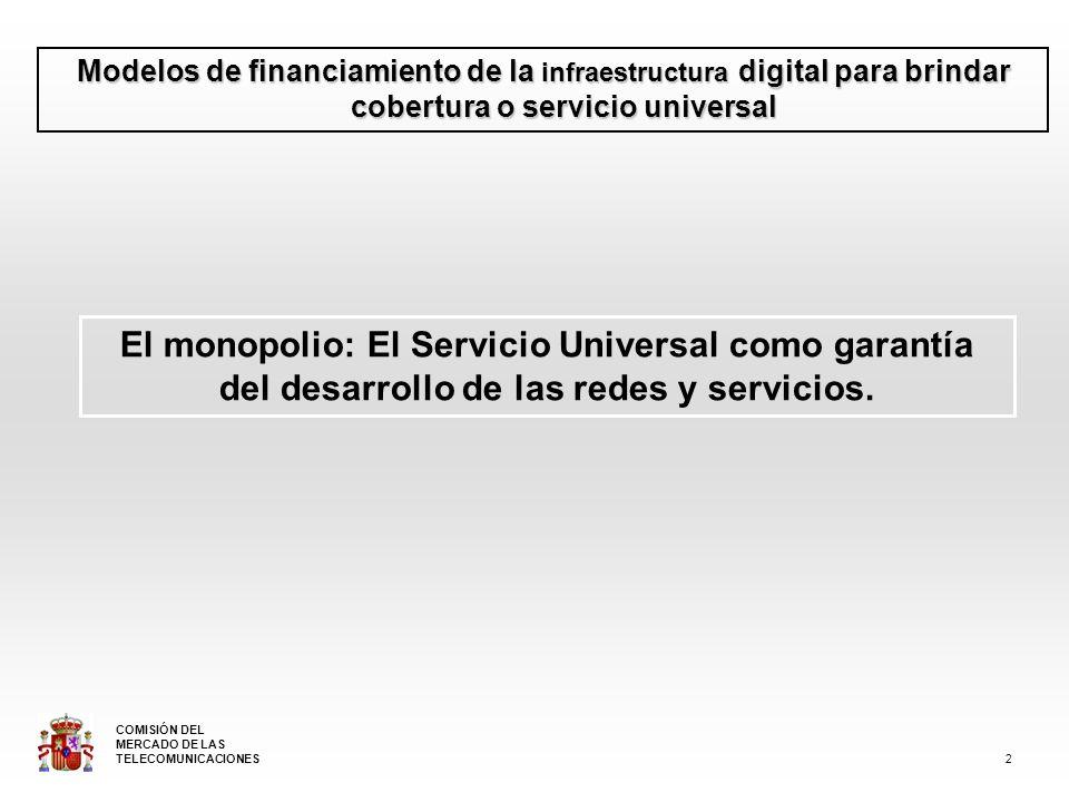 Modelos de financiamiento de la infraestructura digital para brindar cobertura o servicio universal El monopolio: El Servicio Universal como garantía del desarrollo de las redes y servicios.