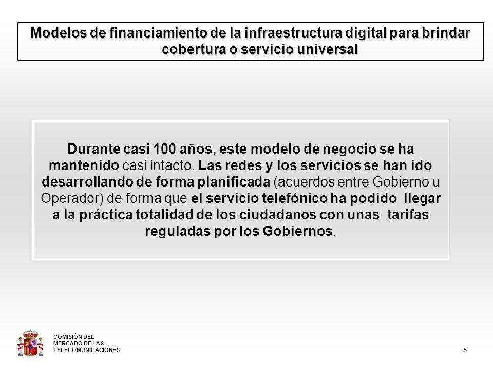 Modelos de financiamiento de la infraestructura digital para brindar cobertura o servicio universal Durante casi 100 años, este modelo de negocio se ha mantenido casi intacto.