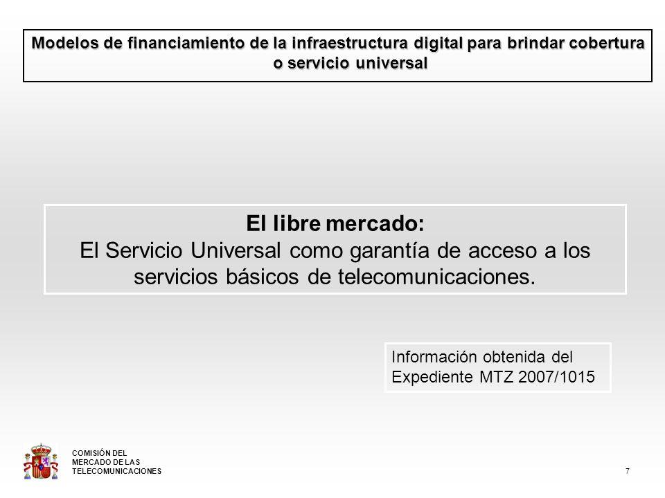 Modelos de financiamiento de la infraestructura digital para brindar cobertura o servicio universal El libre mercado: El Servicio Universal como garantía de acceso a los servicios básicos de telecomunicaciones.
